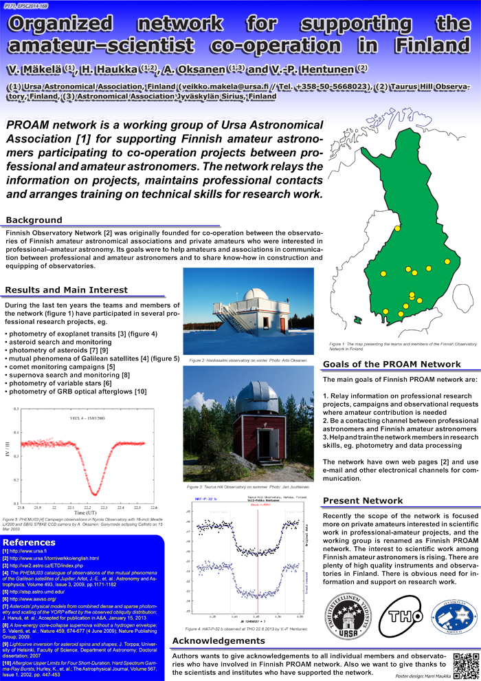 EPSC 2014 poster. Photo: Authors.
